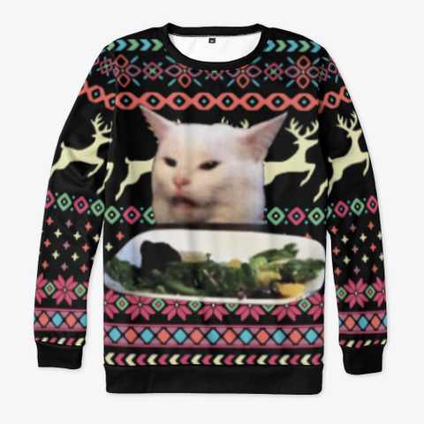 Funny Cat Meme Ugly Christmas Sweaters Black T-Shirt Front