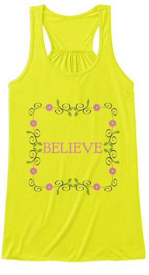 Believe Neon Yellow Women's Tank Top Front