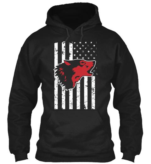 Wolf Usa Flag Patriotic  Black T-Shirt Front