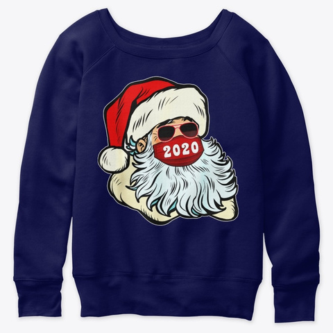Family Pajamas Santa Face Mask Christmas Navy  T-Shirt Front
