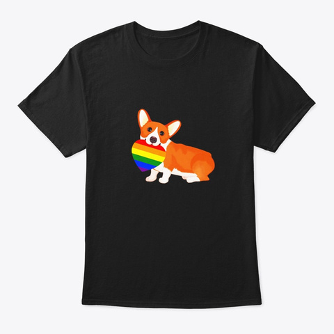 Gay Lgbt Pride Flag Corgi T Shirt Black T-Shirt Front