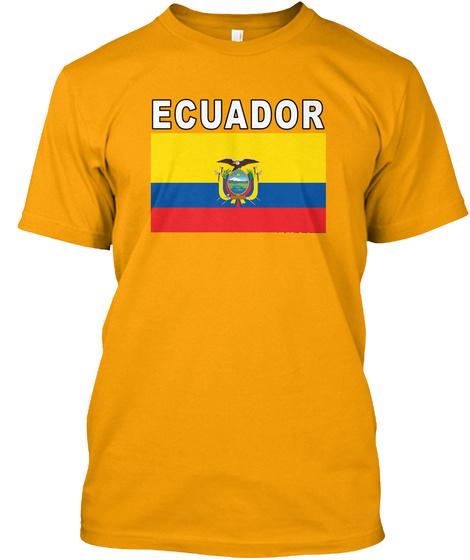 Ecuador National Soccer Game Shirt Gold T-Shirt Front