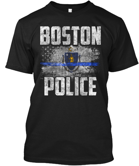 Boston Police Black T-Shirt Front
