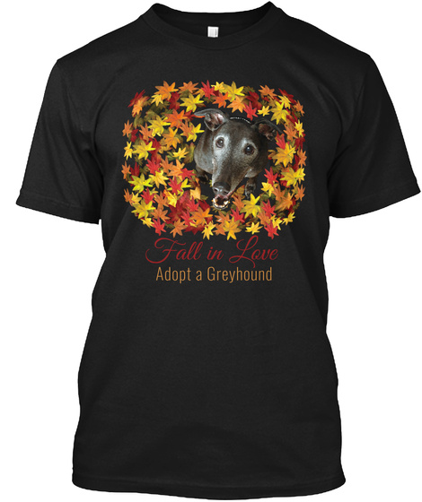 Fall In Love Adopt A Greyhound Black T-Shirt Front