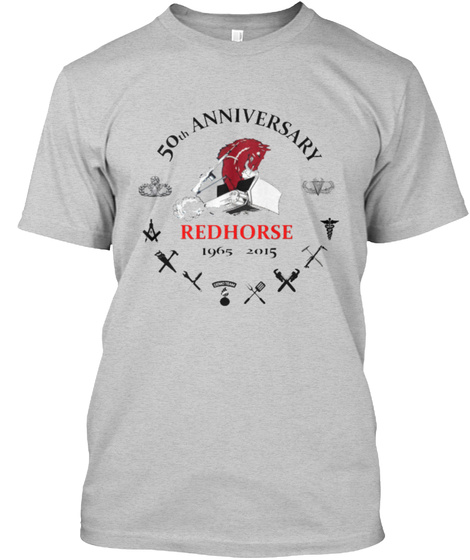 50th Anniversary Redhorse 1965 2015 In Memory Of Our Fallen Light Steel Camiseta Front