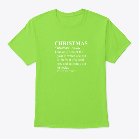 Christmas Funny Dictionary Definition Lime T-Shirt Front