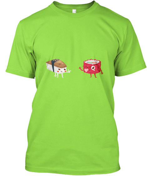 Kawaii Emoti Sushi Rolls In Love Lime T-Shirt Front