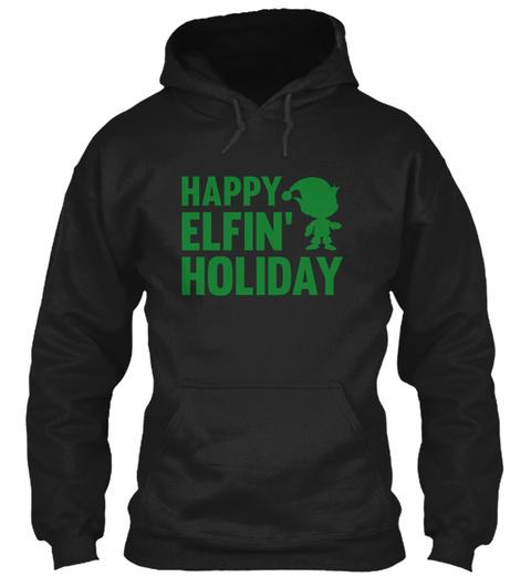 Happy Elfin Holiday Black T-Shirt Front