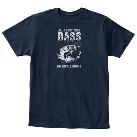 Funny Largemouth Bass Fishing T Shirts New Navy T-Shirt Front