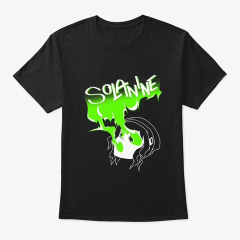 Solanine (Green) Black T-Shirt Front