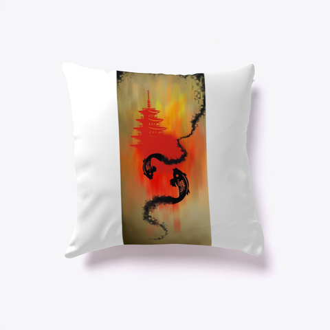 Koi Ink Splash Pillow White T-Shirt Front