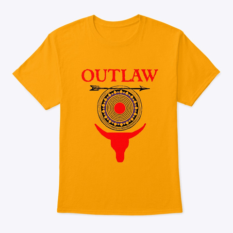 Outlaw Old West Cowboy Design Gold T-Shirt Front