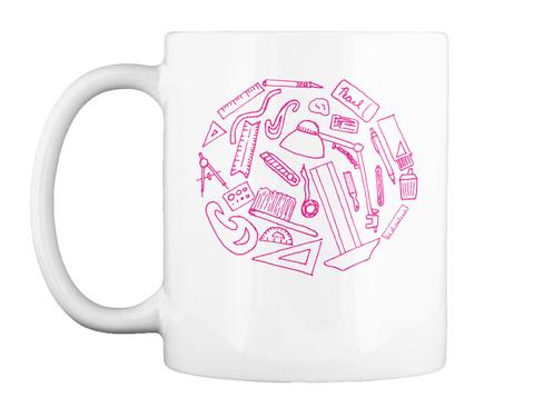 Drafting Mug Pink White T-Shirt Front