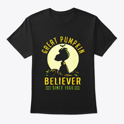 Great 1966 Pumpkin Halloween Believer Black T-Shirt Front