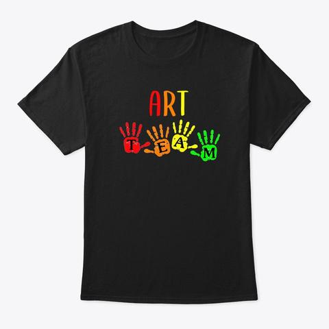 Art Teacher Team Handprints Black T-Shirt Front