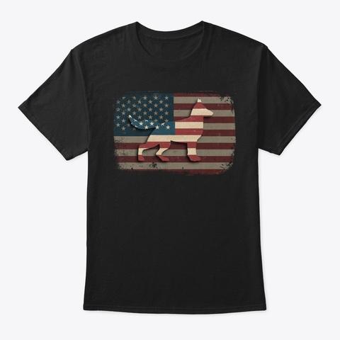 Vintage Us Flag German Shepherd Gift Black T-Shirt Front