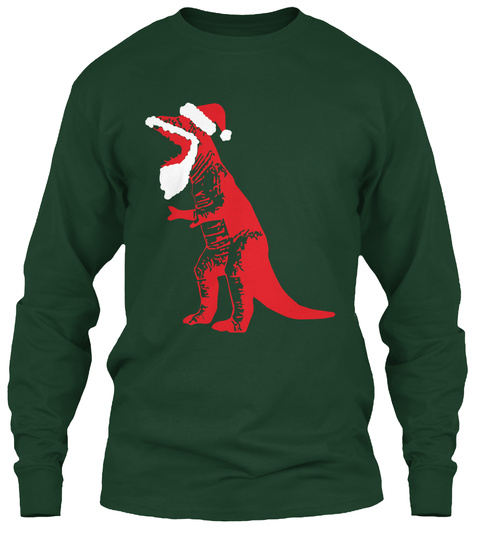 d337f186740b89 Santa T Rex Dinosaur Forest Green Long Sleeve T-Shirt Front