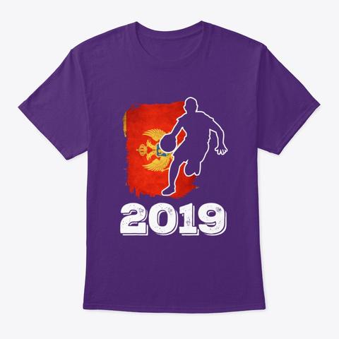 Montenegro Flag Basketball 2019 Tee Purple T-Shirt Front