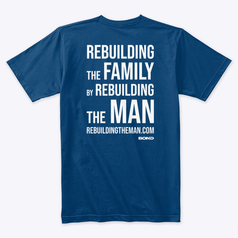Rebuilding Family Back Stack White Ink Cool Blue T-Shirt Back