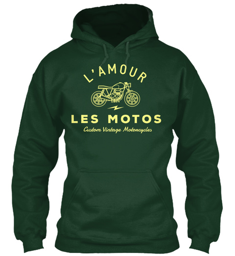 L'amour Les Motors Custom Vintage Motorcycles Forest Green T-Shirt Front