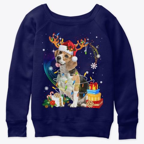 Santa Beagle Reindeer Light Christmas Navy  T-Shirt Front