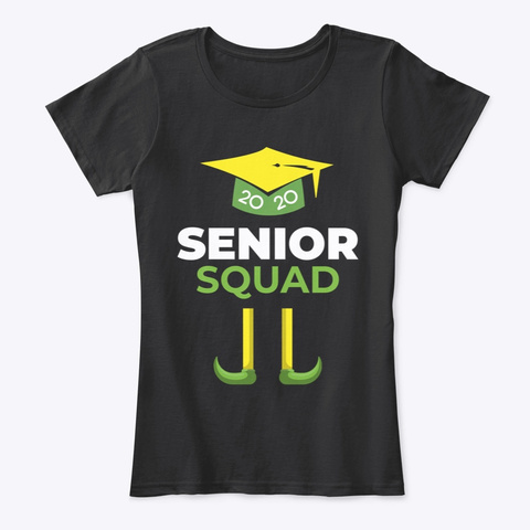Class Of 2020 Christmas Senior Squad Black T-Shirt Front