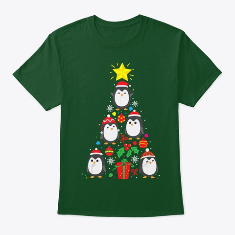 Funny Penguin Christmas Tree Shirt Gift Deep Forest T-Shirt Front