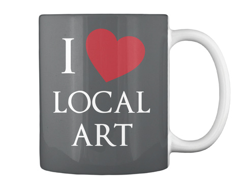 I Local Art Dk Grey Caneca Back