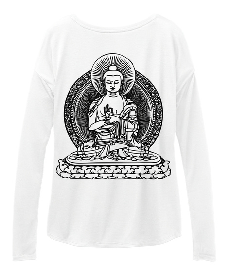 Buddha Slouchy Long Sleeve White T-Shirt Back