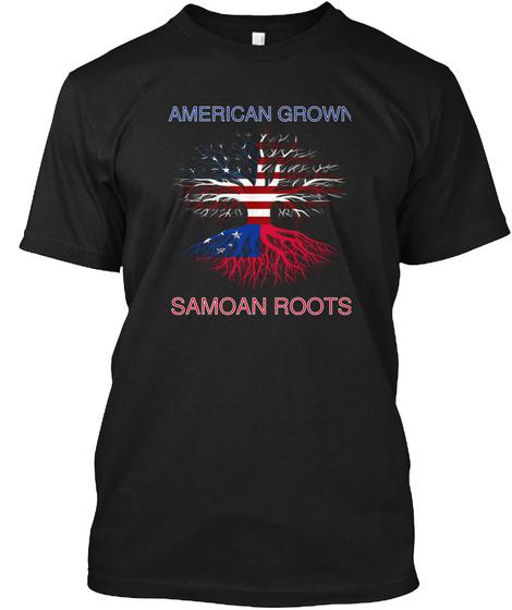 American Grown Samoan Roots Black Maglietta Front