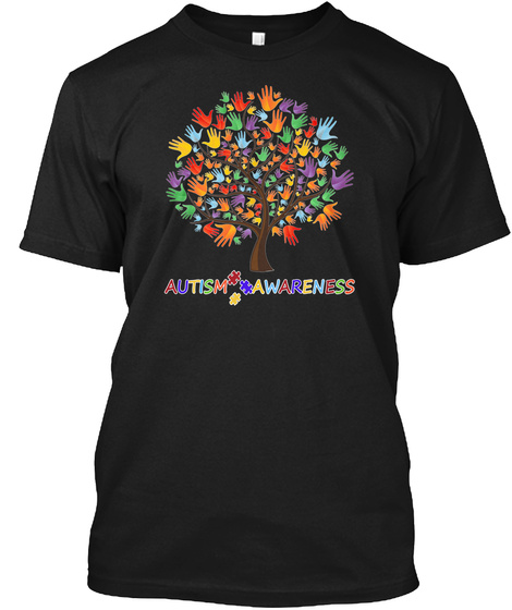 Autism Awareness Ribbon Black T-Shirt Front