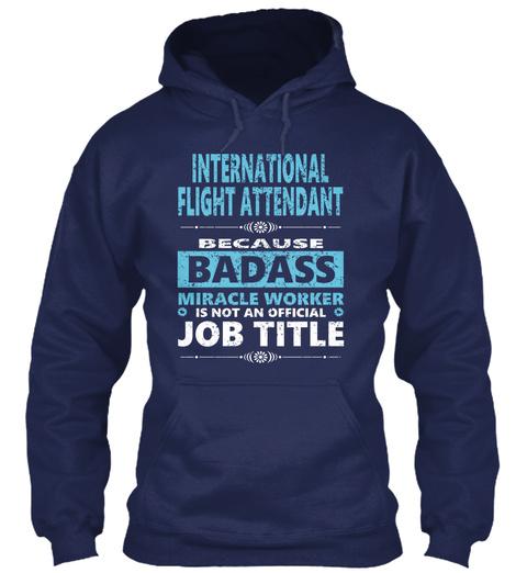 International Flight Attendant Navy T-Shirt Front