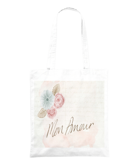 Mon Amour White Tote Bag Front