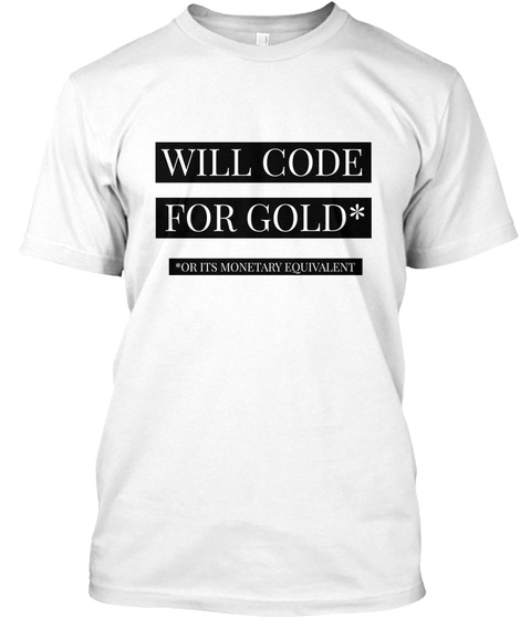 Coder Gold White T-Shirt Front