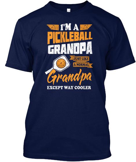 Pickleball Grandpa Funny Sport Game Navy T-Shirt Front