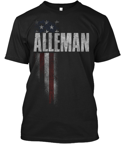 Alleman Family American Flag Black T-Shirt Front