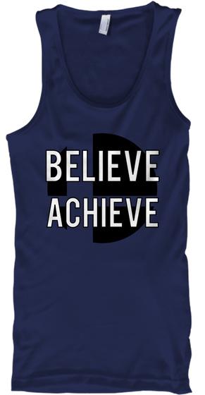 Believe Achieve Navy T-Shirt Front