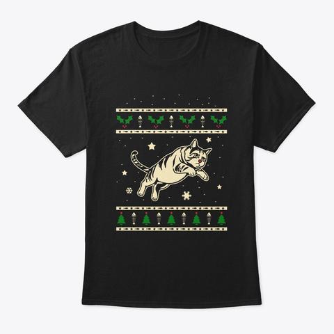 Christmas Domestic Shorthair Gift Black T-Shirt Front