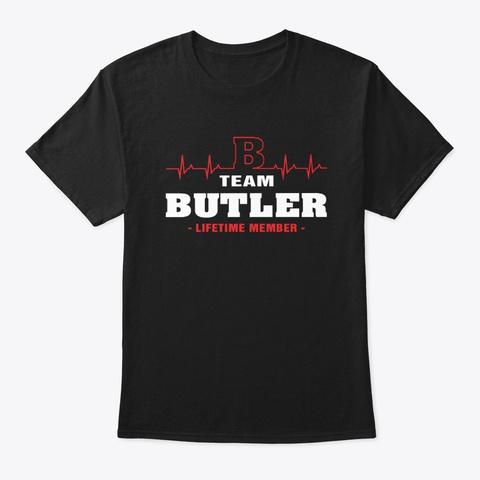 Team Butler Lifetime Member T Shirts Black T-Shirt Front