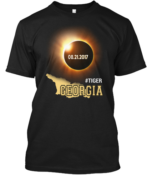 Eclipse Tiger Ga. Customizable City Black T-Shirt Front