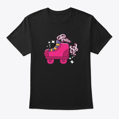 Pink Roller Skate Girl  Black T-Shirt Front