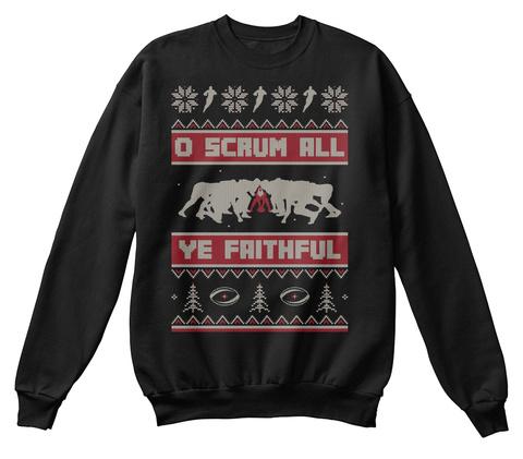 O Scrum All Ye Faithful Black T-Shirt Front