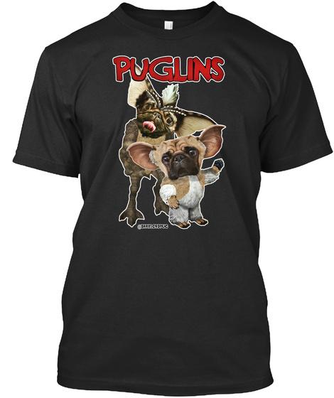 Puglins Black T-Shirt Front