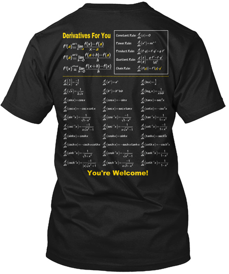 Derivatives For You  You're Welcome! Black T-Shirt Back
