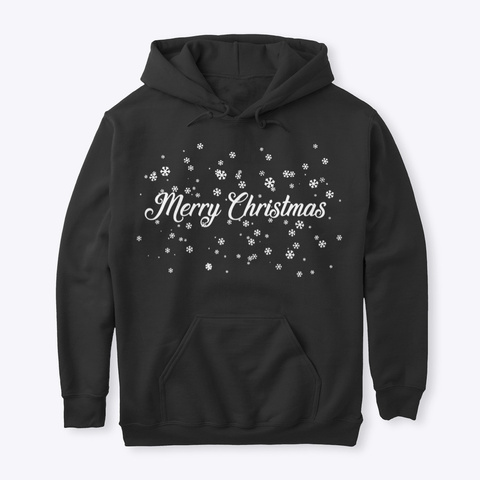 Merry Christmas Snowflakes Black T-Shirt Front