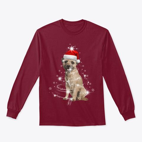 Border Terrier Dog Christmas Tree Santa Cardinal Red T-Shirt Front