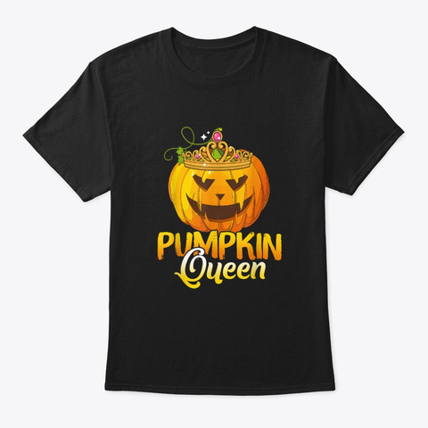 Funny Pumpkin Queen Women Halloween Black T-Shirt Front