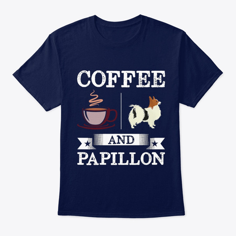 Coffee And Papillon Navy T-Shirt Front