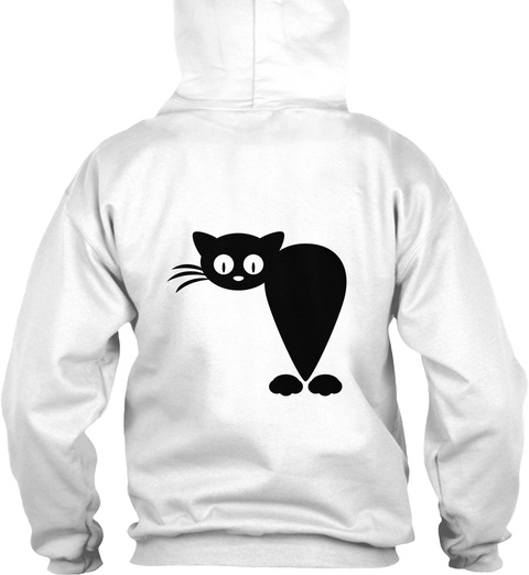 Hoodie Cat Funny Front And Back Design White Camiseta Back