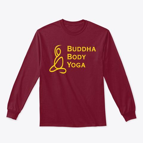 Buddha Body Yoga Logo Long Sleeve Tee Cardinal Red Camiseta Front